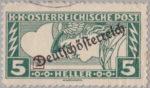 German-Austria 1919 special delivery  stamp overprint flaw: D in Deutschösterreich broken at the base