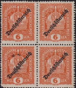 German-Austria 1919 postage stamp overprint flaw: letter s in Deutschösterreich bent to the right