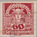 German-Austria Mercury newspaper stamp flaw spot between letters t and u in Zeitungsmarke