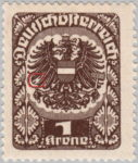 German-Austria coat of arms stamp flaw: feathers on the left wing bound by thick white spot (H-Marke)
