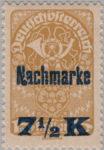 German-Austria postage due stamp overprint flaw: Nachmarke