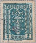 Austria 1922 2 kronen postage stamp error