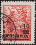 Yugoslavia 1949 10 din on 20 din postage stamp overprint error