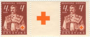 Croatia 1941 Red Cross postage stamp with engraver mark