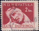 Croatia war tax stamp plate flaw white spot on wounded's head