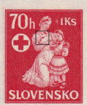 Slovakia 1943 charity for children postage stamp error spot on apron of the nurse