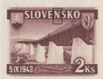 Slovakia 1943 railway postage stamp error colored dot below N in SLOVENSKO