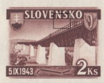 Slovakia 1943 railway postage stamp error colored dots below NS