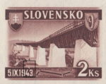 Slovakia 1943 railway postage stamp error white line above 1943