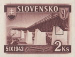 Slovakia 1943 railway postage stamp error spot on the pillar