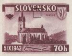 Slovakia 1943 railway postage stamp error dot below N in SLOVENSKO