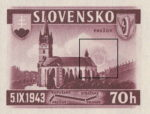 Slovakia 1943 railway postage stamp error color disturbance