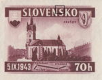 Slovakia 1943 railway postage stamp error white spot on S in SLOVENSKO