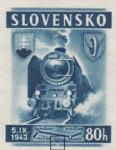 Slovakia 1943 railway postage stamp error steam train line broken