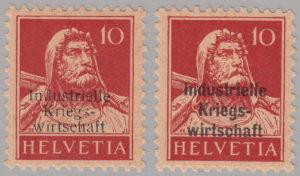 Switzerland War Board of Trade stamp overprint types