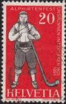 Switzerland alphorn blower stamp plate flaw
