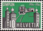 Switzerland Simplon tunnel postage stamp retouchung