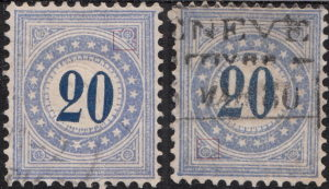 Switzerland postage due type 2 inverted and normal