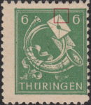 Germany Thuringia post stamp flaw: curved line on top of the upper letter