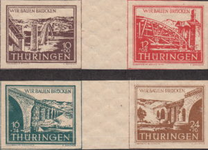 Germany Thuringia Bridge reconstruction stamps in se tenant setting