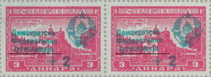 Yugoslavia 1944 types of overprints on postage stamps