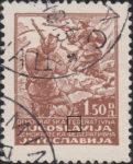 Yugoslavia 1945 1.50 din postage stamp error dot in country description