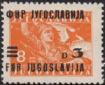 Yugoslavia 1949 partisan with flag stamp error shifted overprint