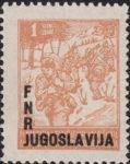 Yugoslavia 1950 postage stamp partisans overprint FNR JUGOSLAVIJA