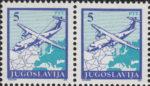 Yugoslavia 1990 airplane postage stamp error: thin line above fuselage