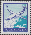 Yugoslavia 1990 airplane postage stamp error: contours on letter not visible