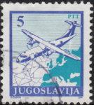 Yugoslavia 1990 airplane postage stamp error: background damaged