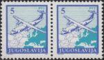 Yugoslavia 1990 airplane postage stamp error: spot above the cockpit