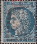 France Ceres 25 centimes postage stamp error Top outer frame above letter U in REPUB broken