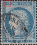 France Ceres 25 centimes postage stamp error Dot before R of REPUB prolonged by a thin line