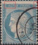 France Ceres 25 centimes postage stamp error Top frame above inscription REPUB damaged, upper right corner broken