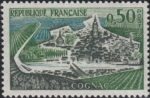 France, postage stamp: one boat on the river