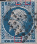 France Napoleon III 20 centimes postage stamp error Top outer frame broken in several areas, medallion with emperor's portrait connected with lower white frame by vertical line