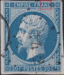 France Napoleon III 20 centimes postage stamp error Blue dot on the second vertical line of letter N in FRANC