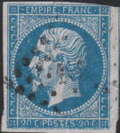 France Napoleon III 20 centimes postage stamp error Multiple scratches on top and bottom inscriptions