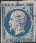 France Napoleon III 20 centimes postage stamp error Thin horizontal line behind emperor's head