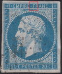 France Napoleon III 20 centimes postage stamp error Small dot connecting letter F in FRANC with inner white frame