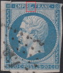 France Napoleon III 20 centimes postage stamp error Second letter E in EMPIRE deformed, white spot below the dot between letters EMPIRE and FRANC