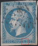 France Napoleon III 20 centimes postage stamp error White triangular spot below dot between letter S and numeral 2