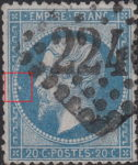 France Napoleon III 20 centimes postage stamp error White spot in the medallion in front of emperor's nose