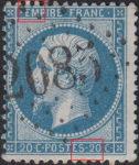 France Napoleon III 20 centimes postage stamp error Blue dot above letter M in EMPIRE, small incision in the lower frame between letter S and numeral 2