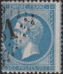 France Napoleon III 20 centimes postage stamp shifted perforation