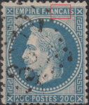 France Napoleon III 20 centimes postage stamp error Thin line connecting letter C in FRANCAIS and inner white frame