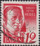 Germany French Occupation Zone Baden 1948 postage stamp error: Letter P of PF. connected to the box with country name