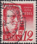 Germany French Occupation Zone Baden 1948 postage stamp error: Whitening on top of letter D of BADEN
