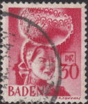 Germany French Occupation Zone Baden 1948 postage stamp error: Letter P of PF. broken on top